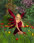 Tulip Fairy with Spring Background