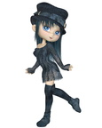 Cute Toon Girl with a Blue Hat - Walking