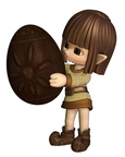 Cute Toon Easter Elf  - Chocolate