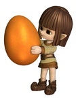 Cute Toon Easter Elf  - Orange
