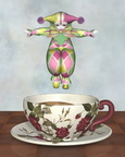 Pierrot Clown Doll Jumping into a Tea Cup