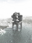 Steampunk Sea House - B/W Illustration Effect