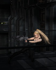 Blonde Sci-fi Heroine Fighting in a Dark City Street
