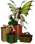 Christmas Fairy Elf Boy Sitting on a Pile of Presents