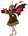 Christmas Fairy Elf Girl Holding a Gift