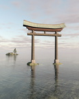 Japanese Floating Torii Gate at a Shinto Shrine