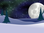 Full Moon and Northern Lights Christmas Card