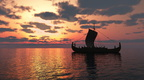 Viking Longship at Sunset
