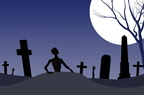 Zombie Graveyard Halloween Illustration