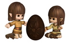 Cute Toon Easter Elves with Chocolate Egg