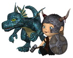 Toon Baby Viking and Pet Dragon