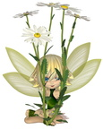 Cute Toon Daisy Fairy, Sitting