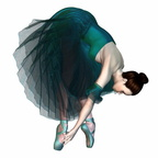 Ballerina in Green Tutu and Pointe Shoes