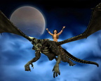 Dragon Rider with Moon and Clouds - 2