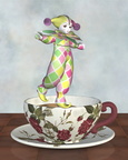 Pierrot Clown Doll Balancing on a Tea Cup