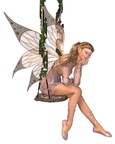 Pretty Pink Fairy on a Swing - 2