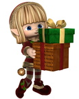 Cute Toon Christmas Elf Carrying Presents