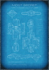 Top Secret Spaceship Blueprint with Text
