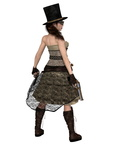 Steampunk Woman with Stovepipe Hat and Two Revolvers, Back View