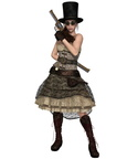 Steampunk Woman with Stovepipe Hat and Two Revolvers