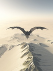 Grey Dragon Flight Over Snowy Mountains