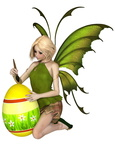 Blonde Fairy Painting an Easter Egg