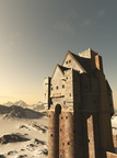 Medieval Tower House Castle in Snowy Mountains